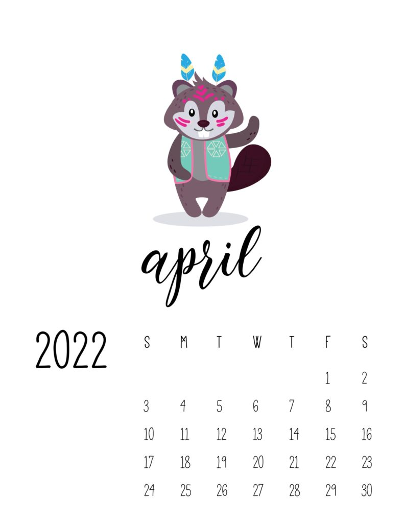 cute printable calendar 2022 - april