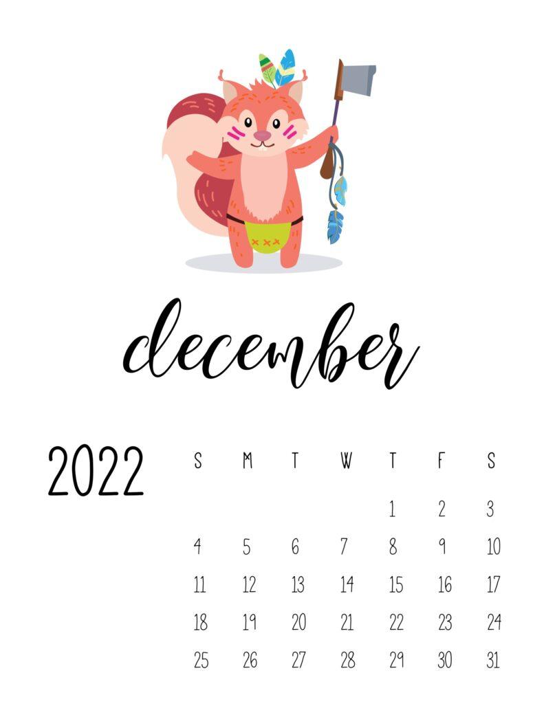 Cute December 2022 printable calendar