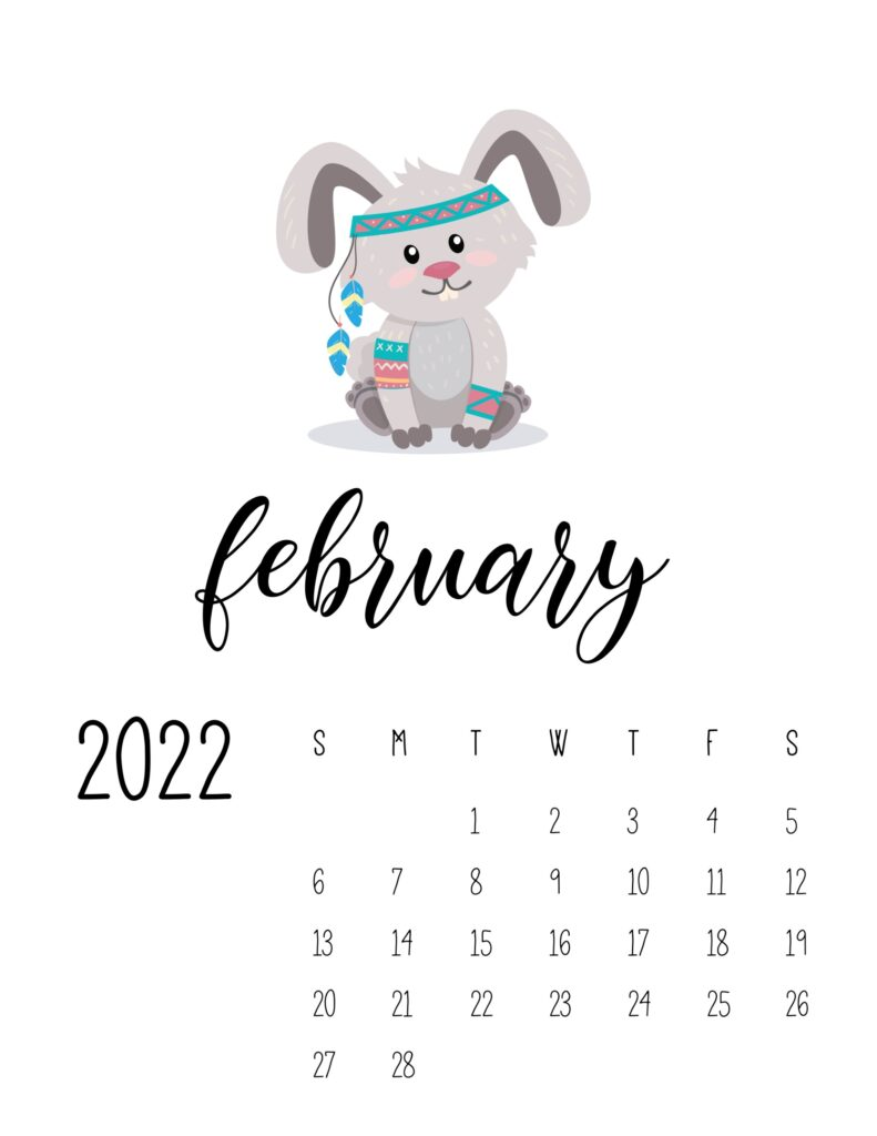 cute printable calendar 2022 - february