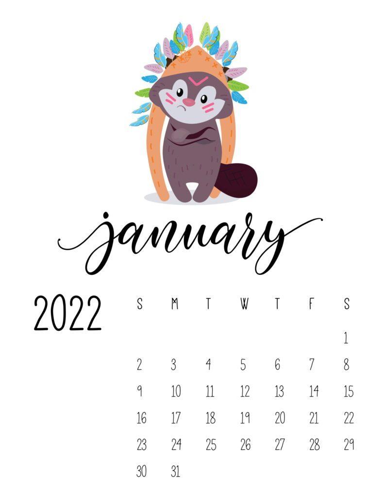 cute printable calendar 2022 - january