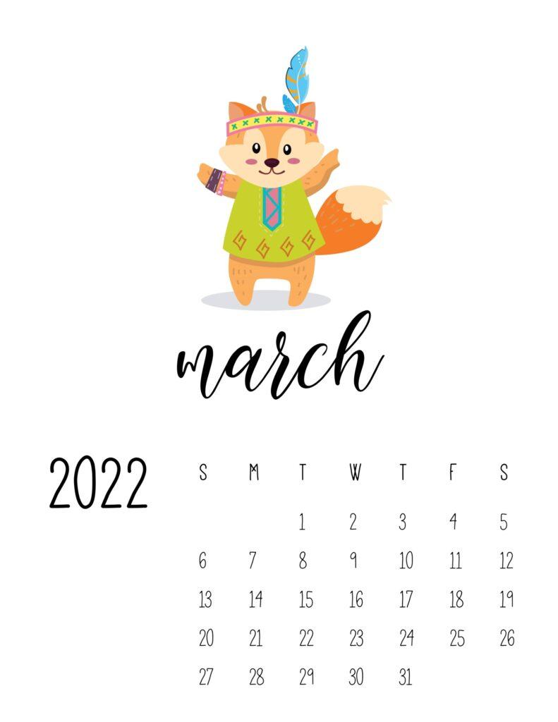 cute printable calendar 2022 - march