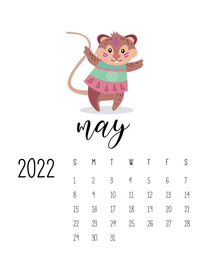 cute printable calendar 2022 - may