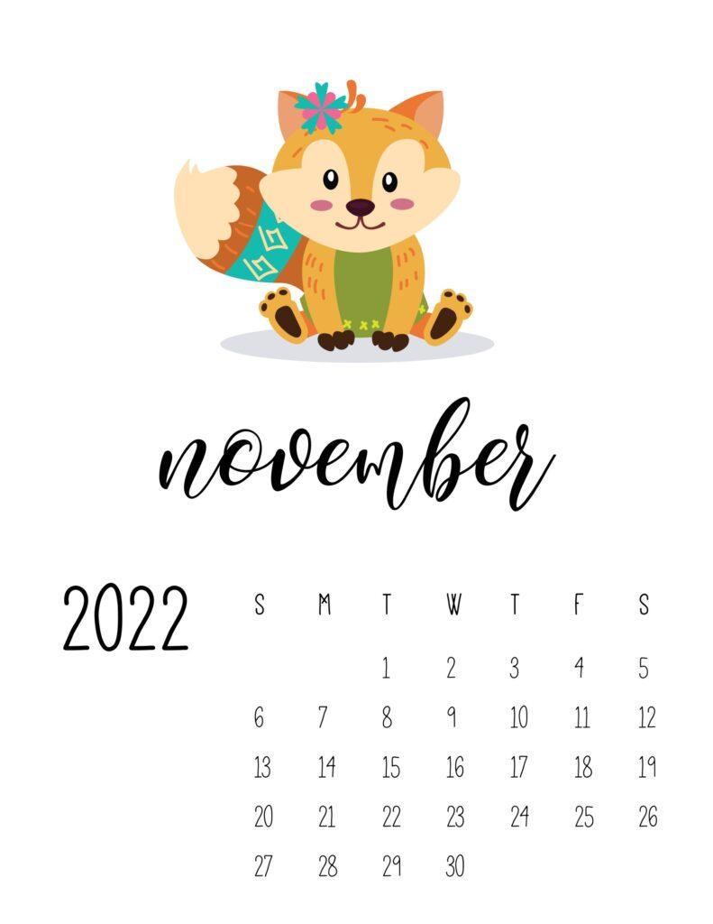 Cute November 2022 printable calendar