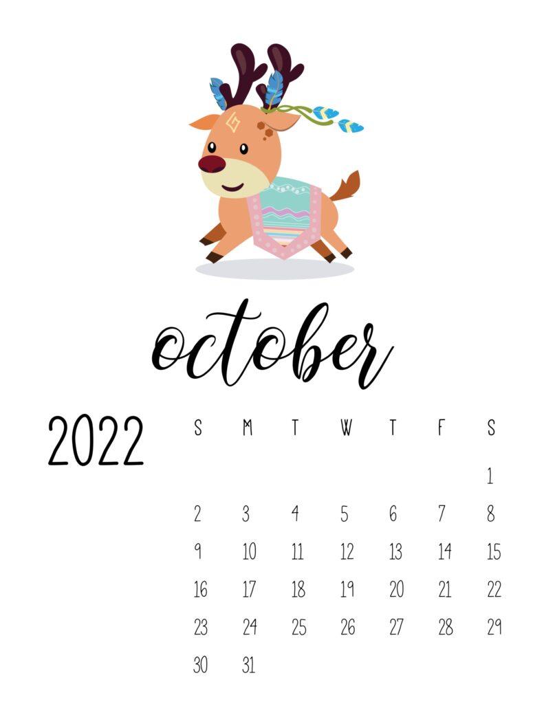 Cute October 2022 printable calendar