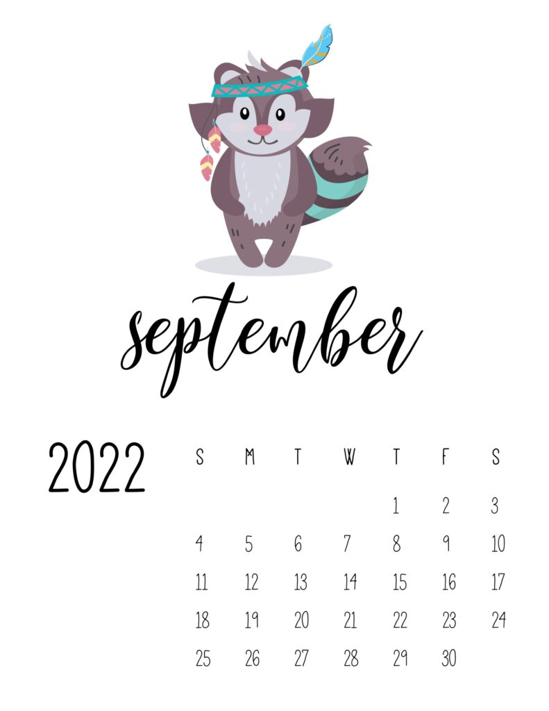 cute printable calendar 2022 - september