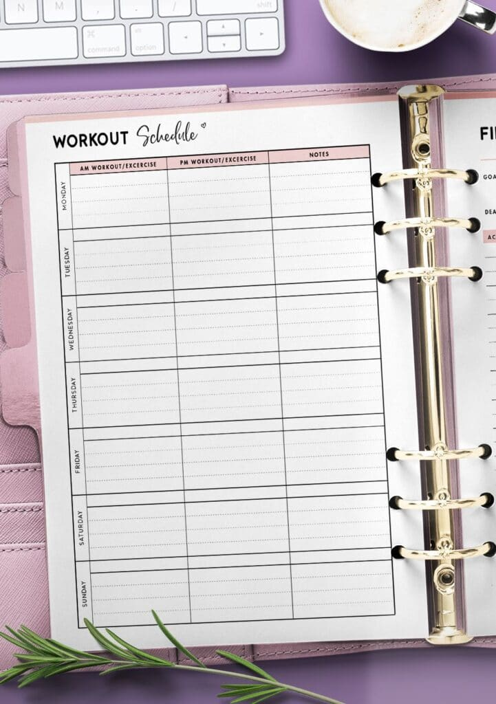 exercise schedule template