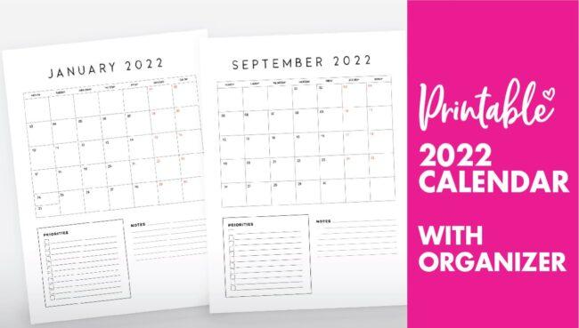 family organiser calendar 2022