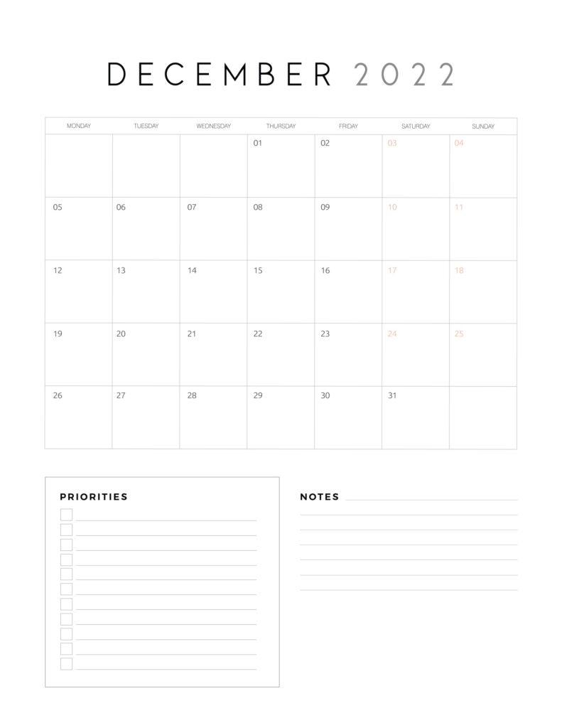 family organiser calendar 2022 - December