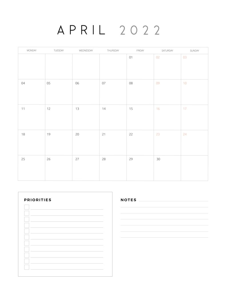 family organiser calendar 2022 - April
