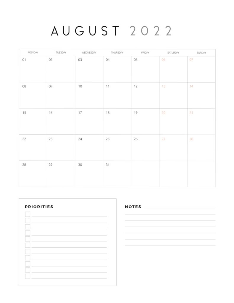 family organiser calendar 2022 - August