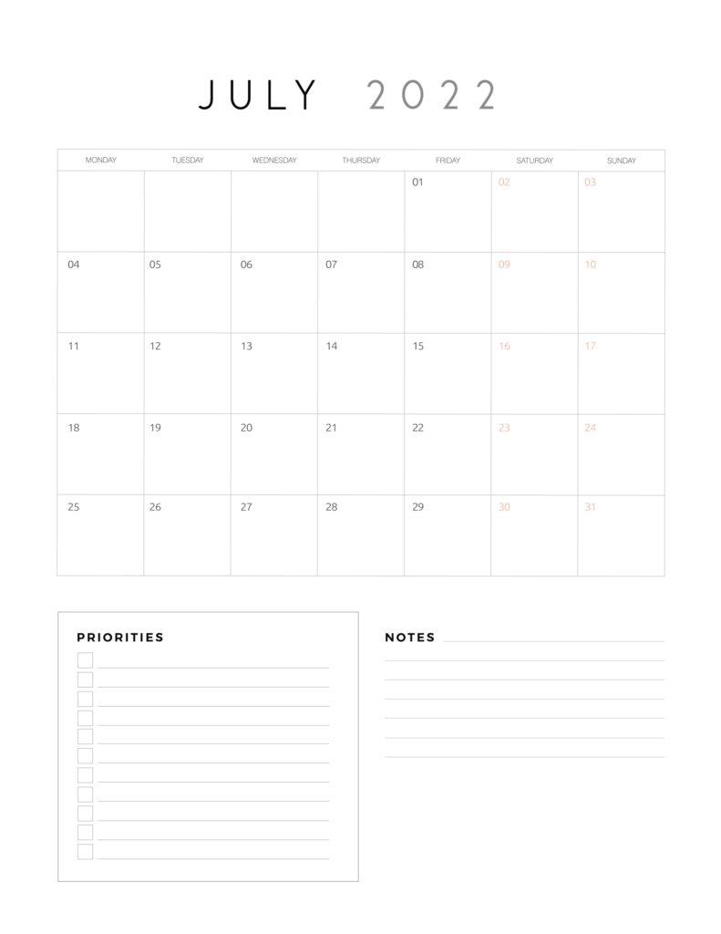 family organiser calendar 2022 - July