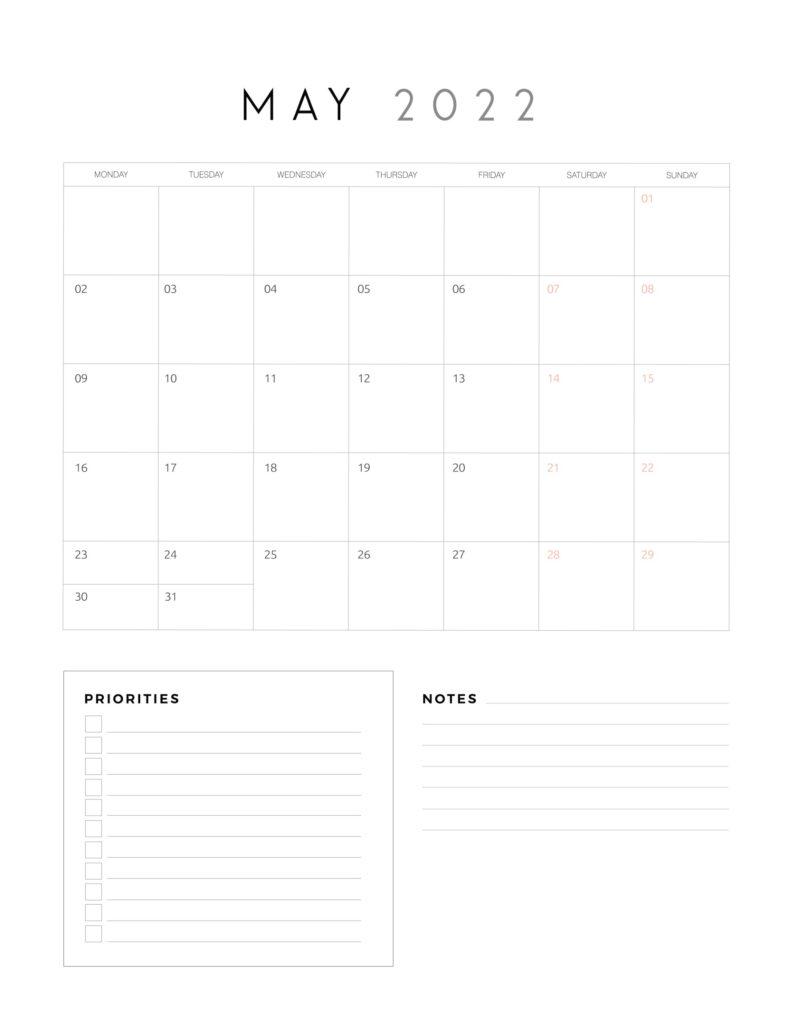 family organiser calendar 2022 - May