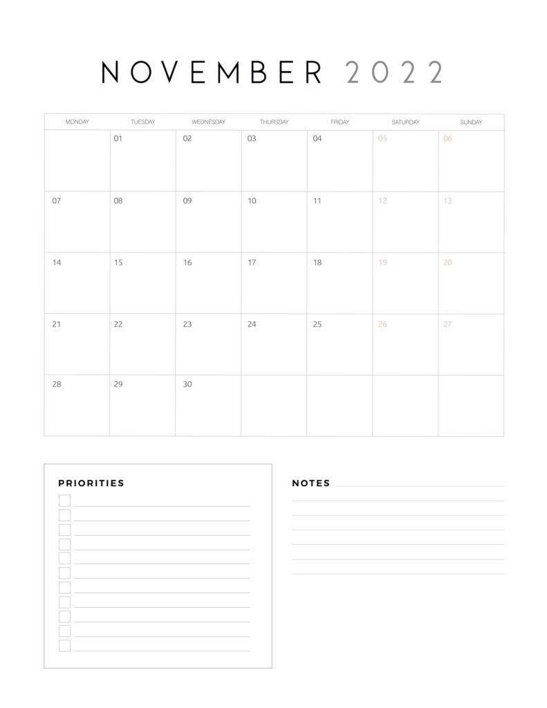 family organiser calendar 2022 - November