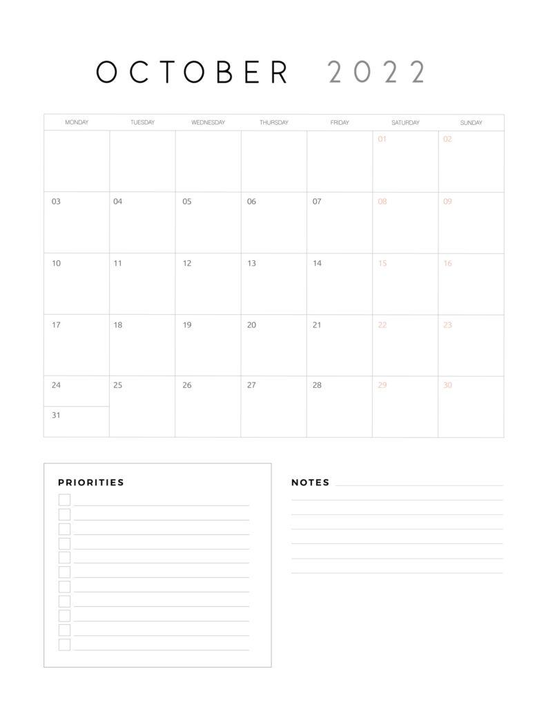 family organiser calendar 2022 - October
