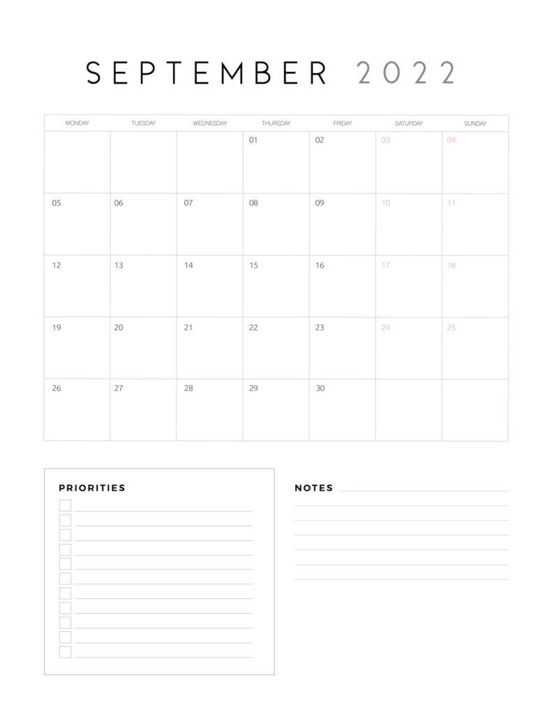 family organiser calendar 2022 - September