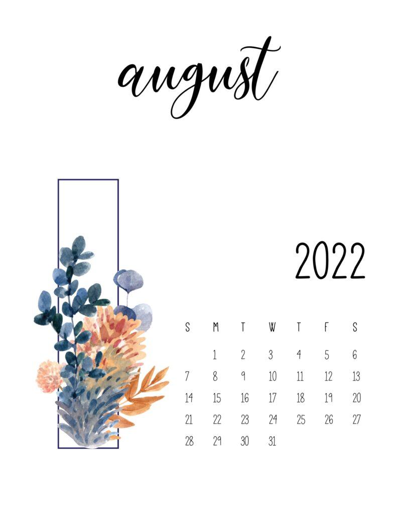 floral 2022 calendar - august