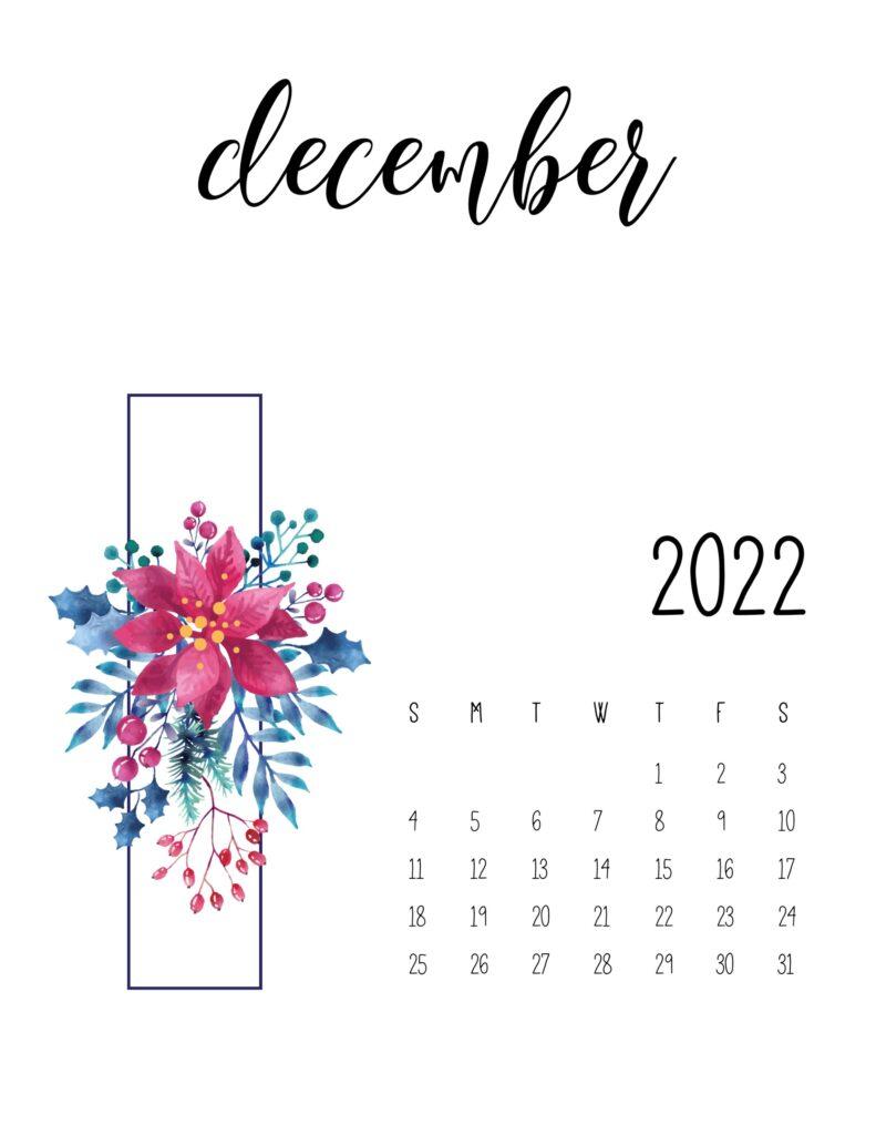 Printable Floral December 2022 Calendar