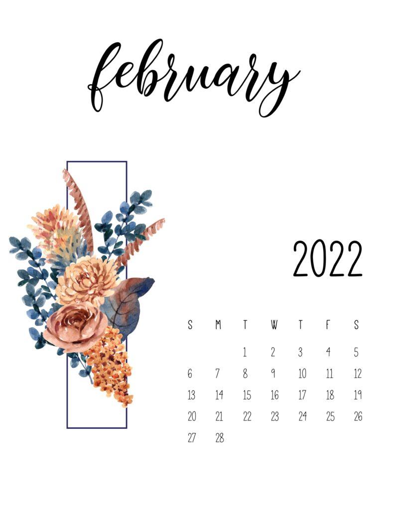 floral 2022 calendar - february