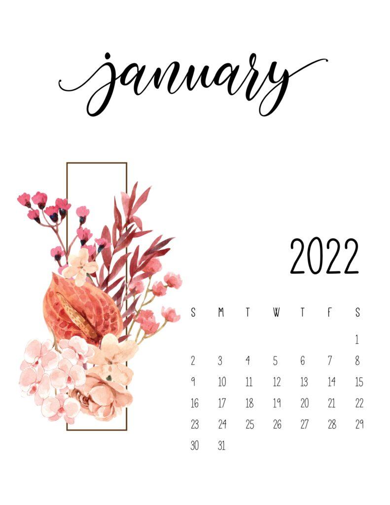 floral 2022 calendar - january