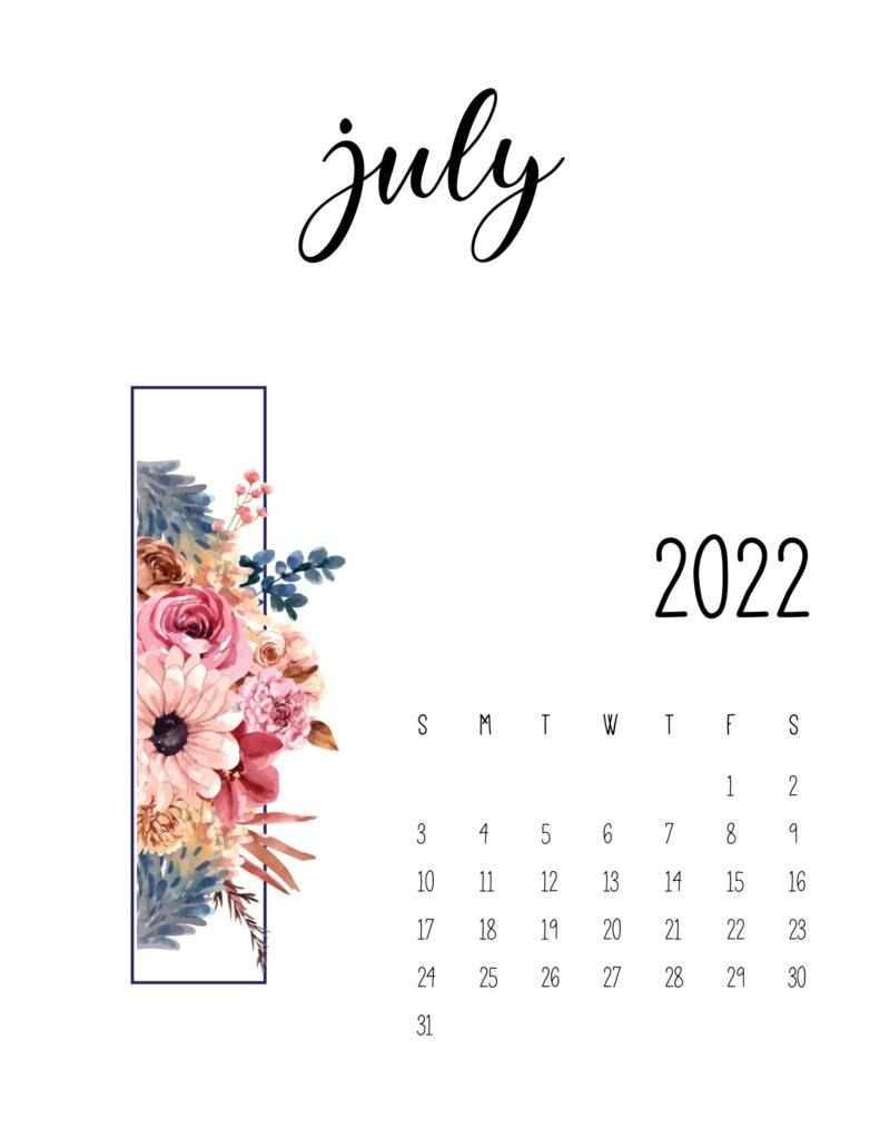 floral 2022 calendar - july