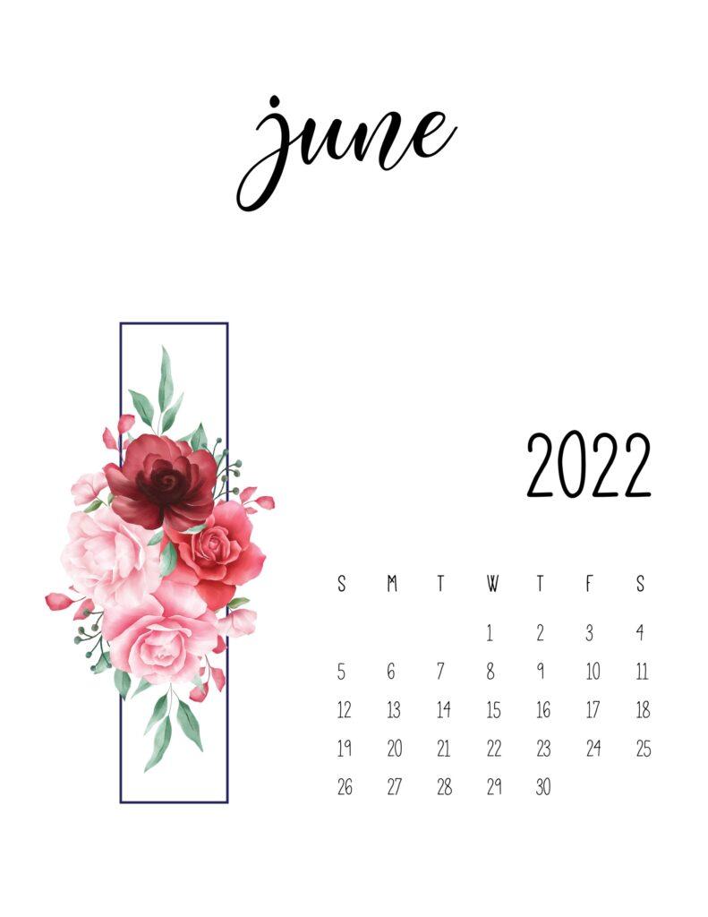 floral 2022 calendar - june