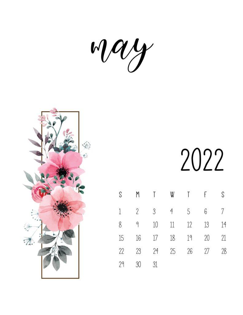 floral 2022 calendar - may