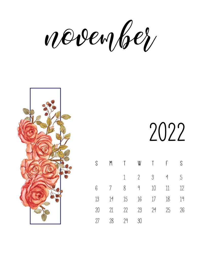 Printable Floral November 2022 Calendar