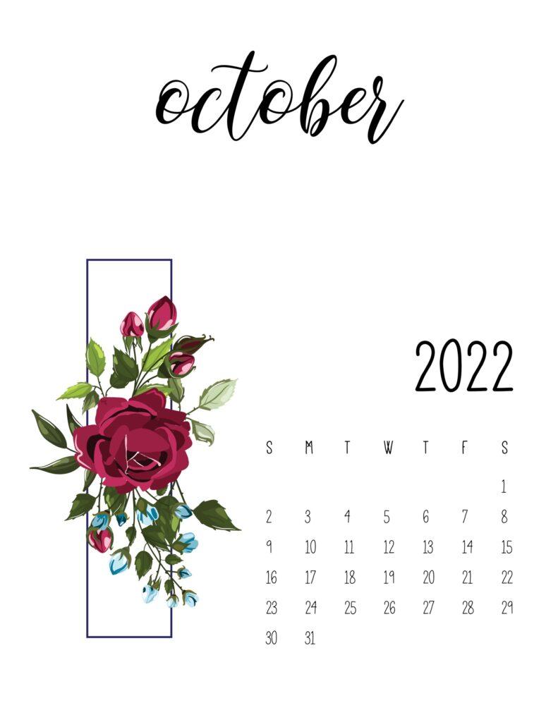 Printable Floral October 2022 Calendar