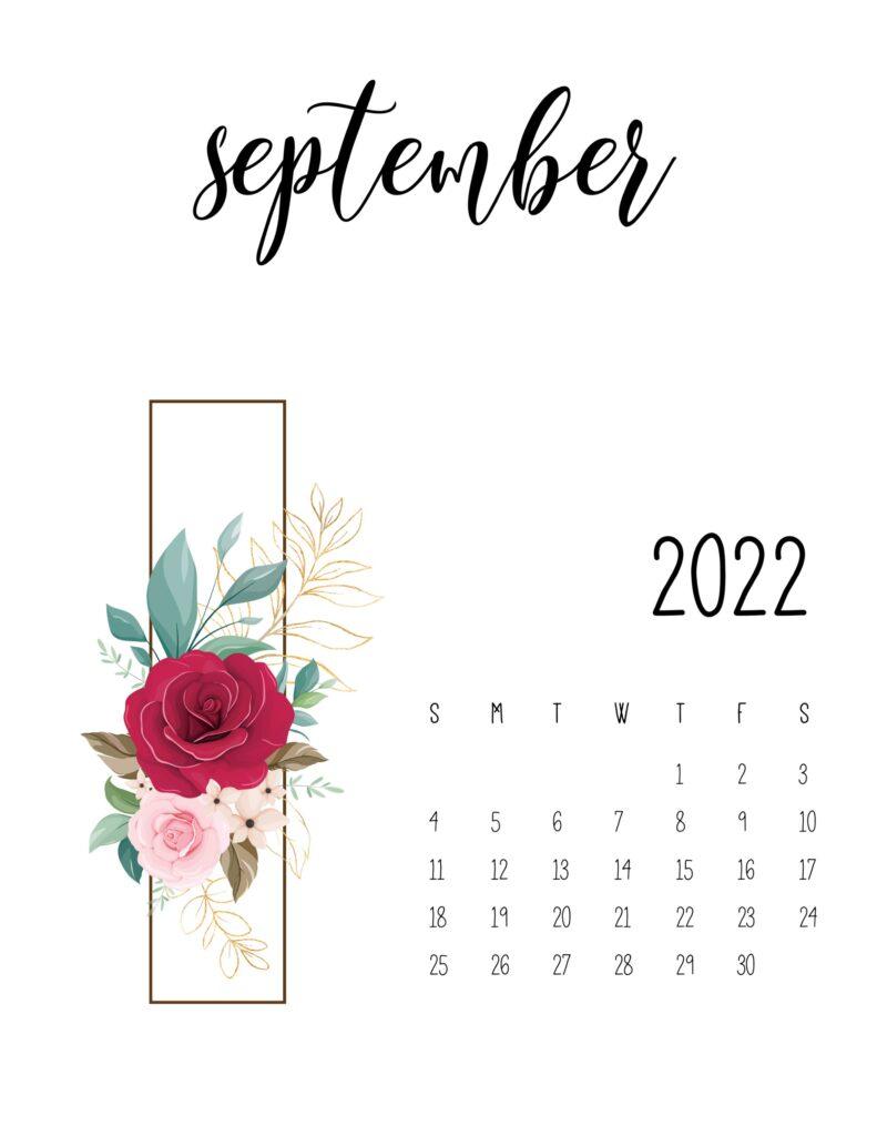 floral 2022 calendar - september