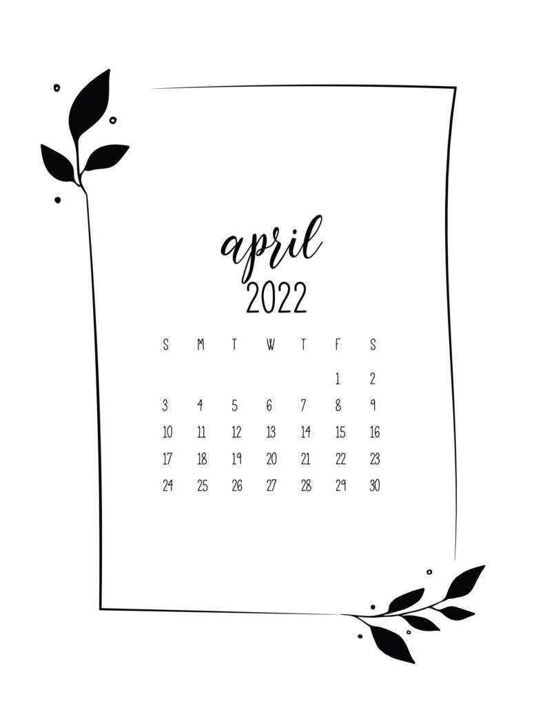 free floral frame 2022 calendar - April