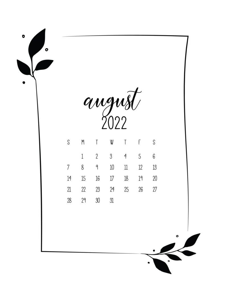 free 2022 calendar - august