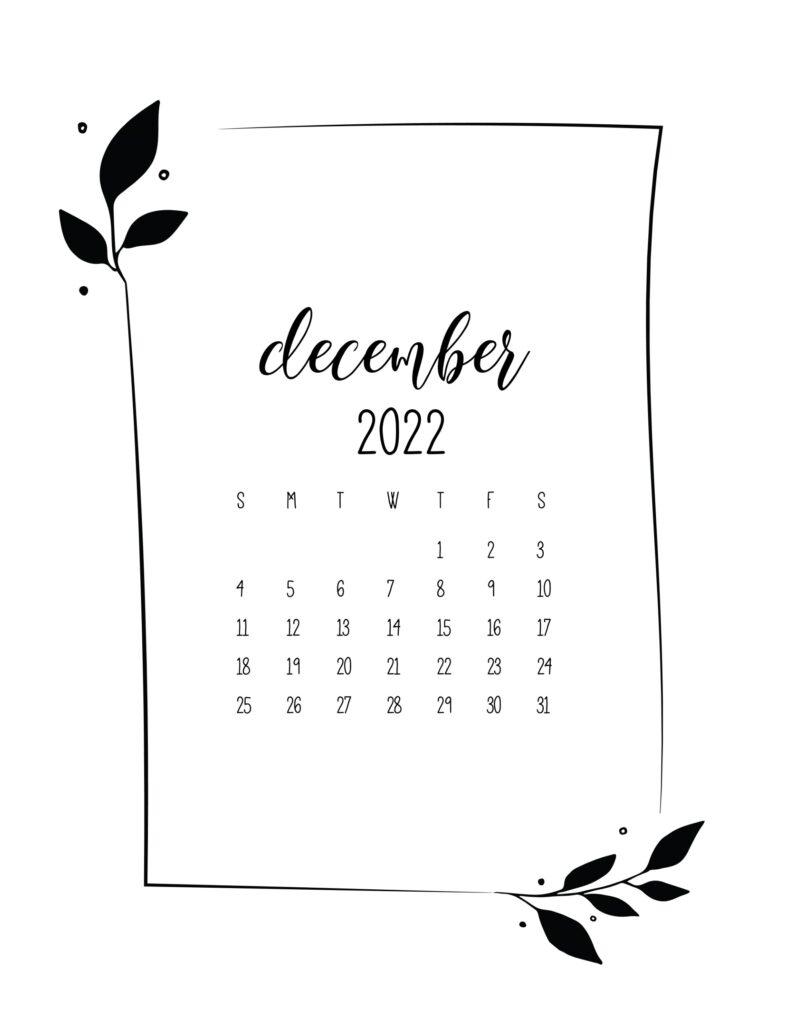 free 2022 calendar - December