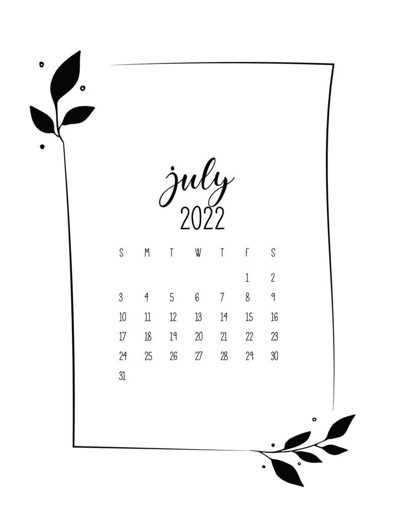 free 2022 calendar - july