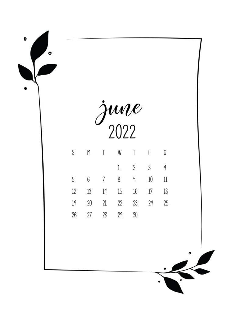 free 2022 calendar - june