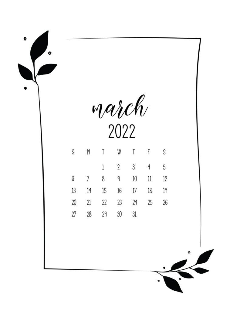 free 2022 calendar - march