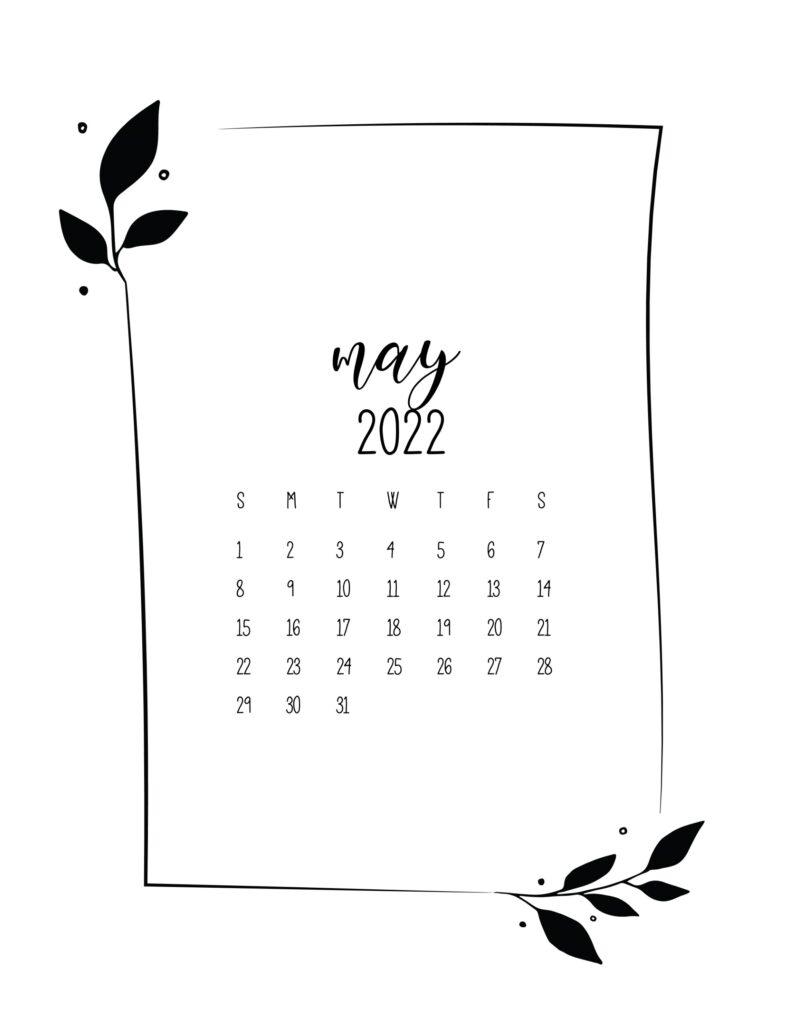free 2022 calendar - may