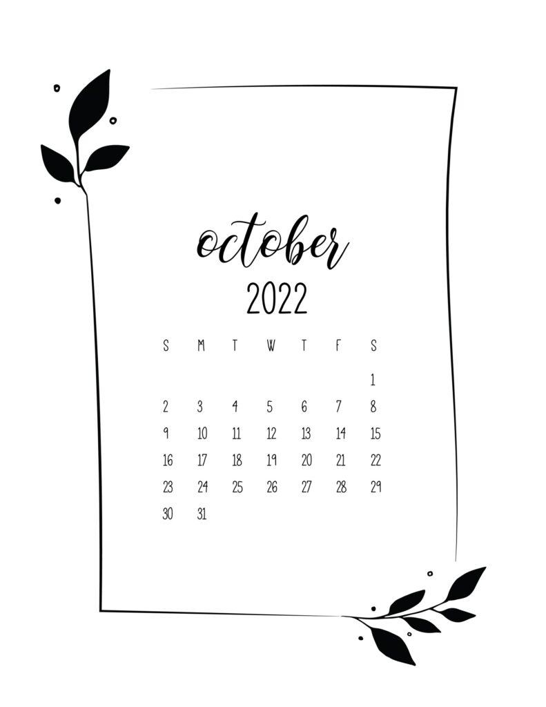 free 2022 calendar - October