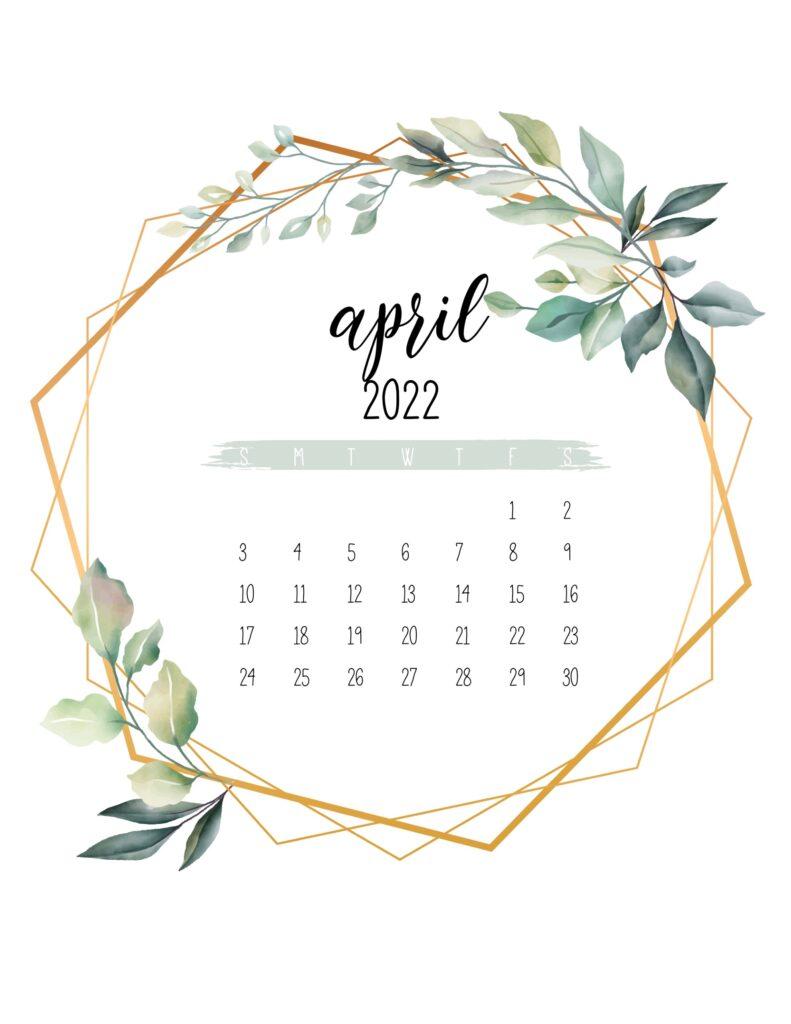 free 2022 calendar printable - april