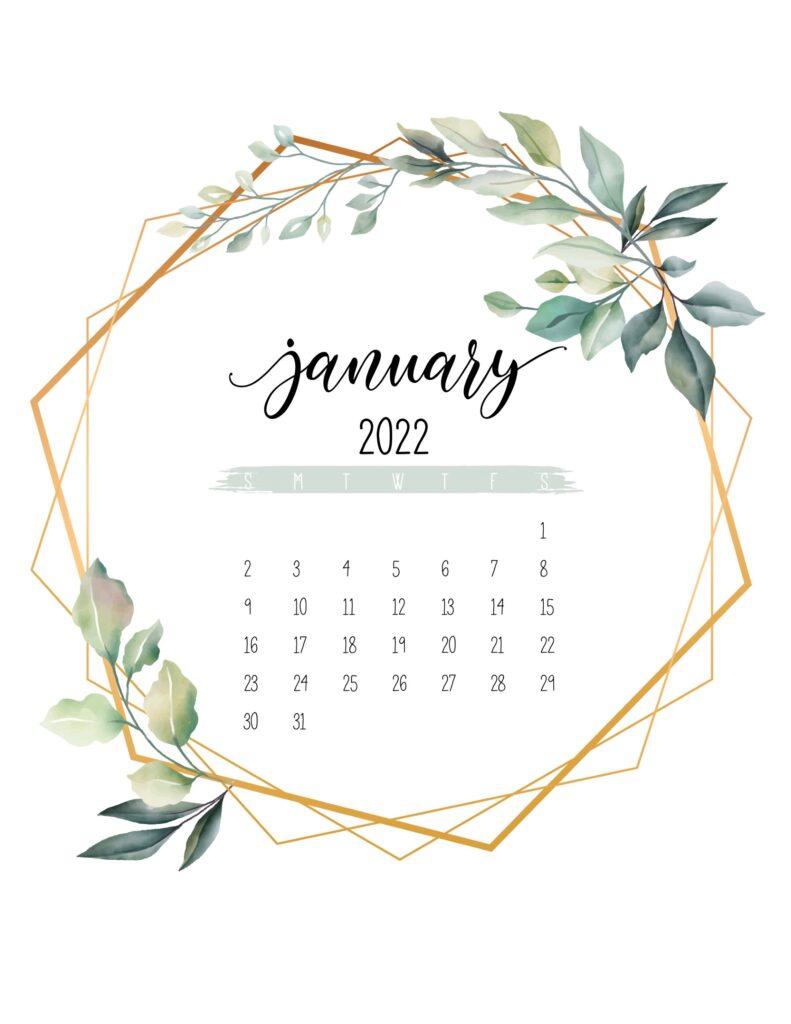 free 2022 calendar printable - january