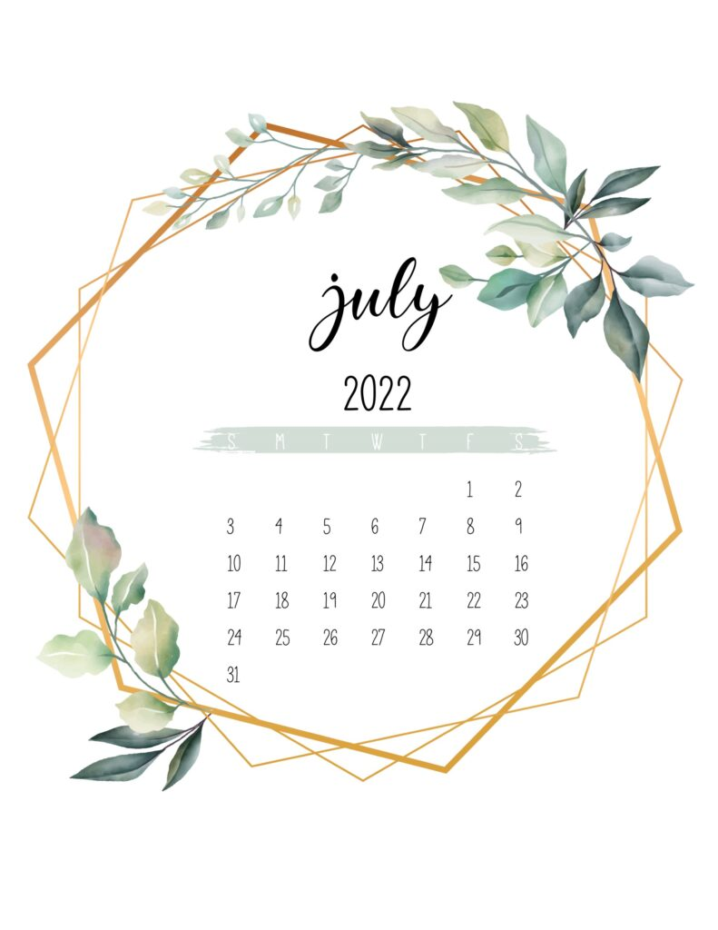 free 2022 calendar printable - july