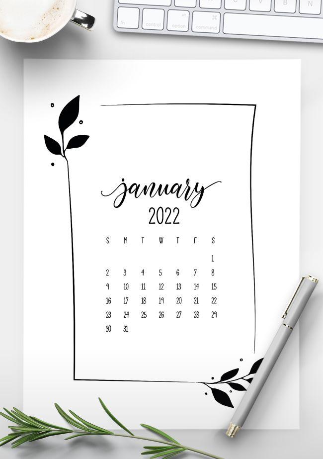 free 2022 floral frame calendar