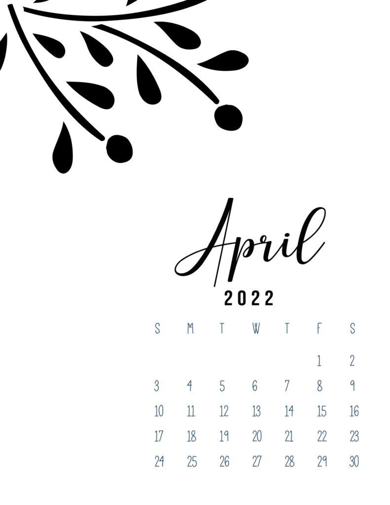 free calendar template 2022 - april