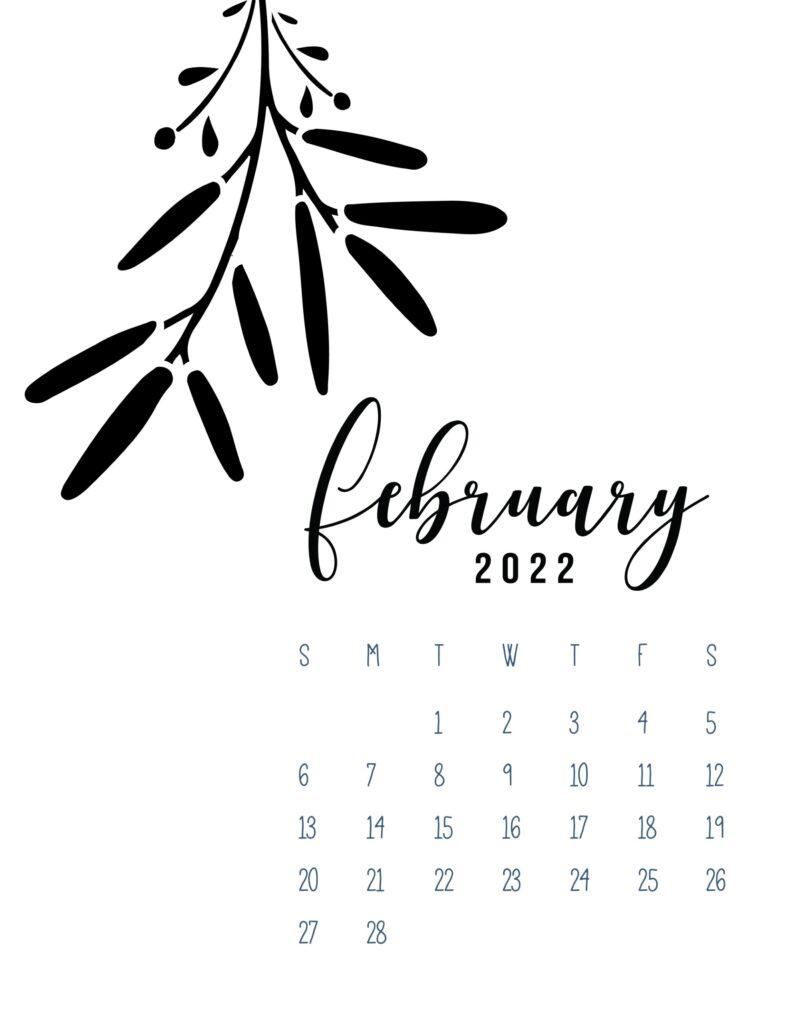 free calendar template 2022 - february
