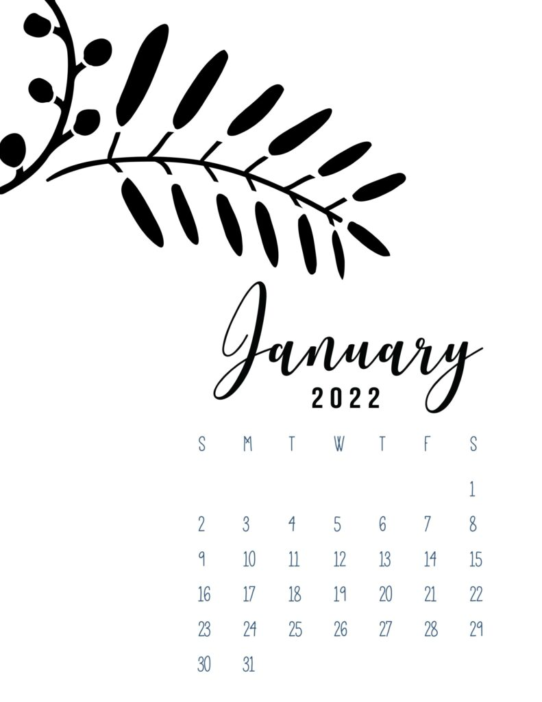 free calendar template 2022 - january