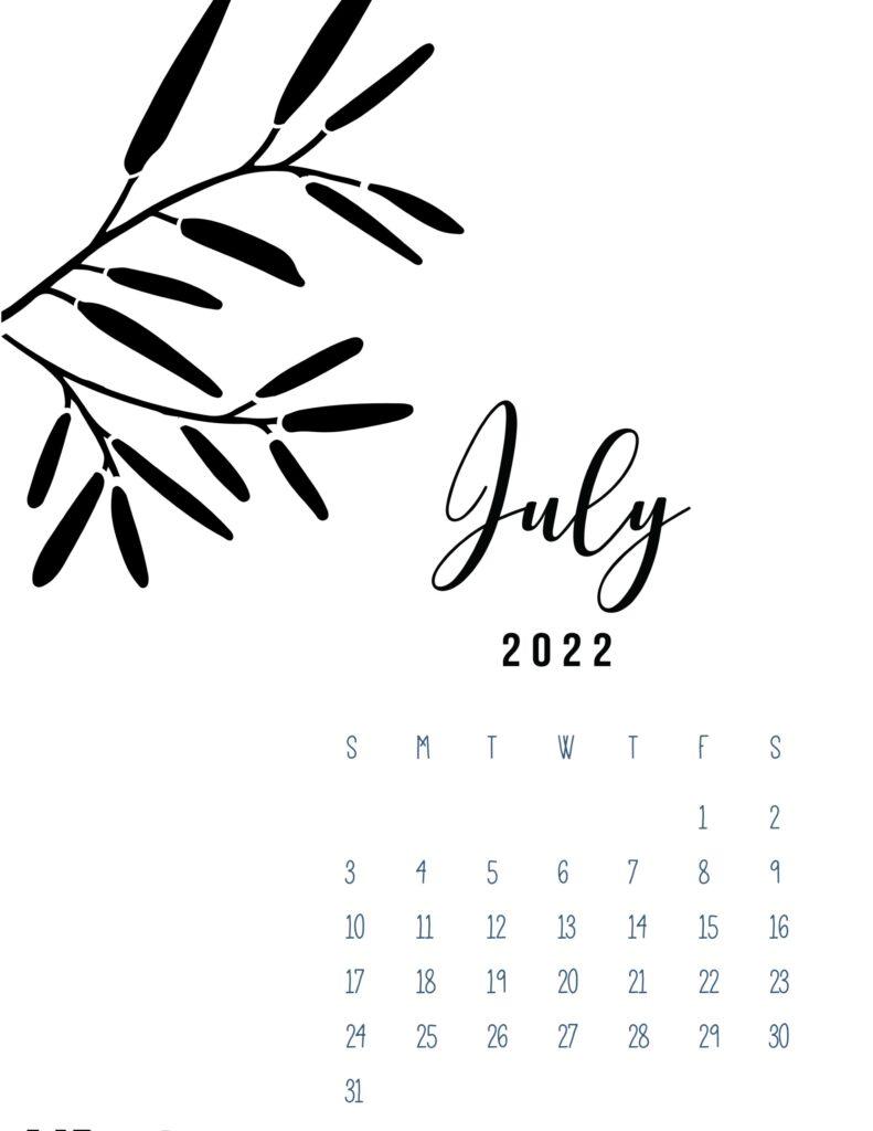 free calendar template 2022 - july