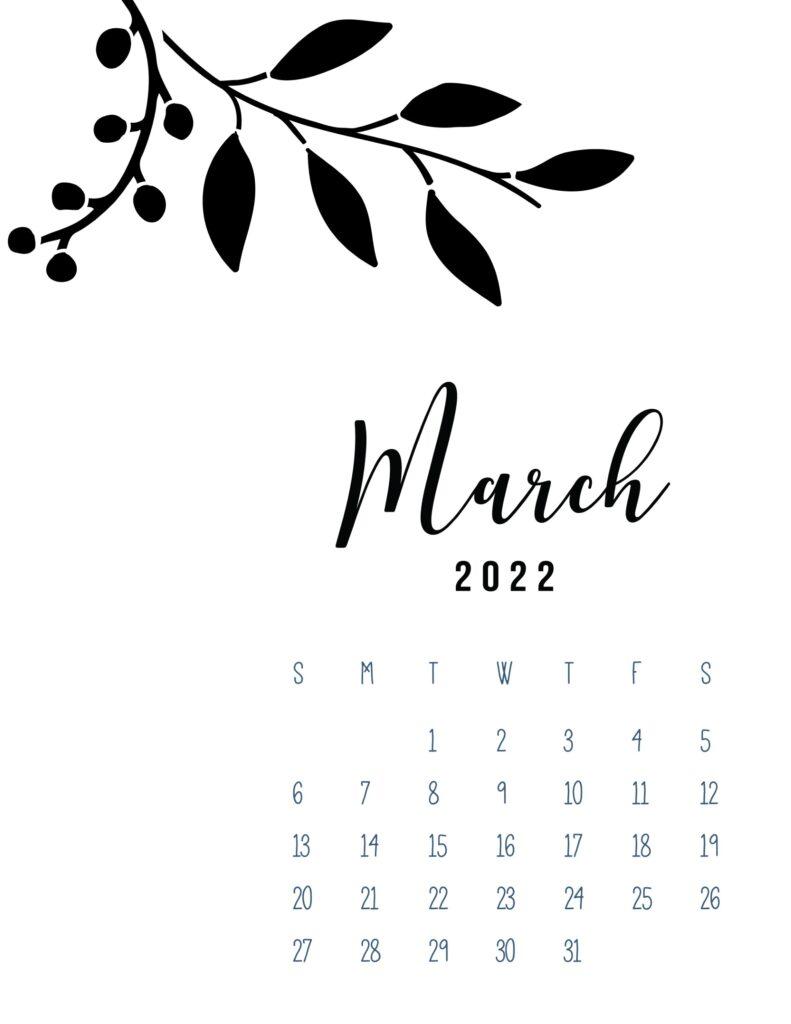 free calendar template 2022 - march