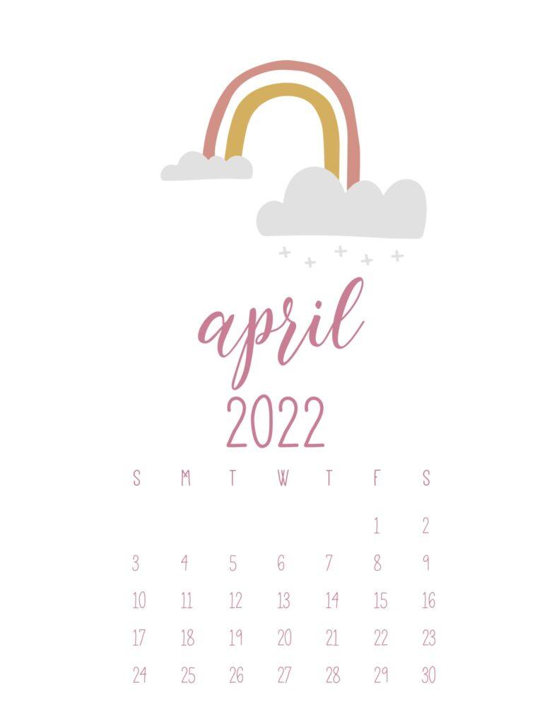 free cute printable calendar 2022 - april
