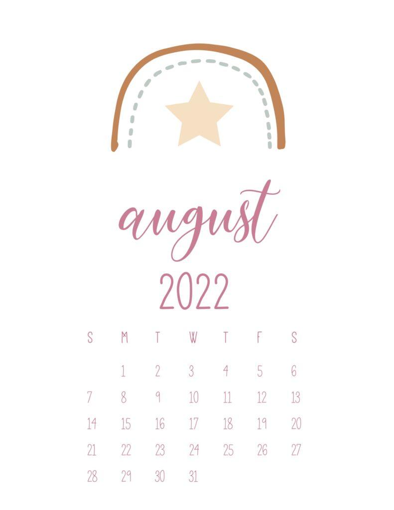 free cute printable calendar 2022 - august