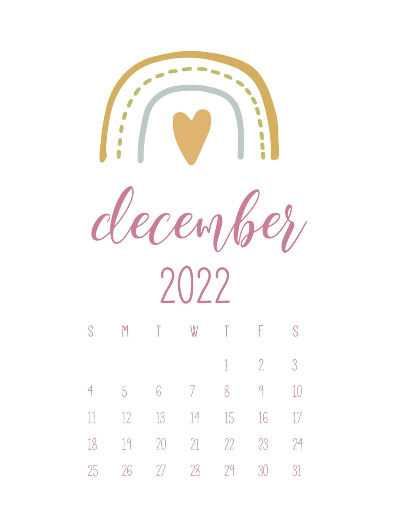 free cute printable calendar 2022 - december