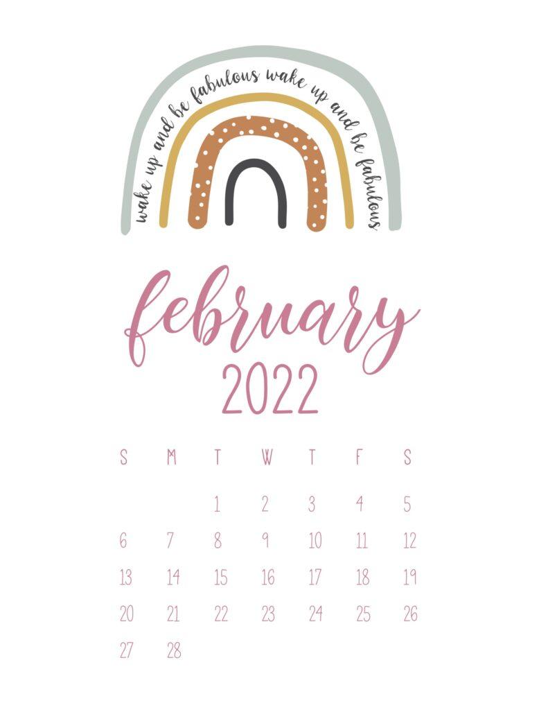 free cute printable calendar 2022 - february